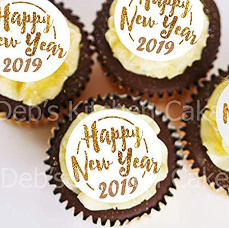 happy new year 2019 cupcake toppers pre cut gold and white new years