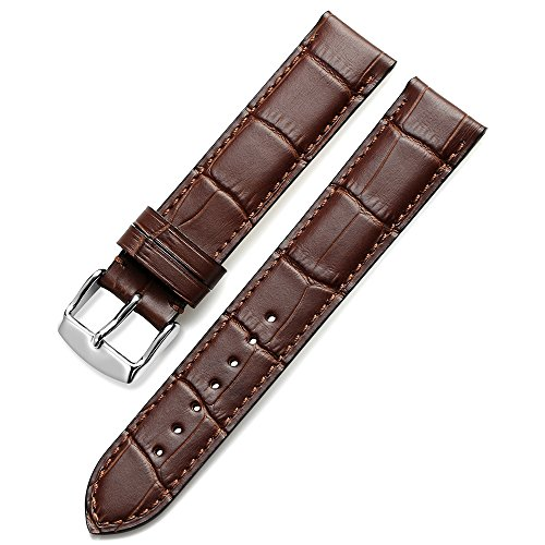 Crocodile Embossed Strap - Nywing Watch Bands 18mm 20mm 22mm 24mm Genuine Leather Watch Straps Alligator Embossed Replacement Clasp Buckle Wristbandsfor Men or Women