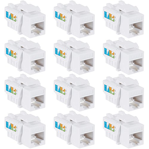 Rovtop 12-Pack Cat6 RJ45 Punch-Down Keystone Netwo...