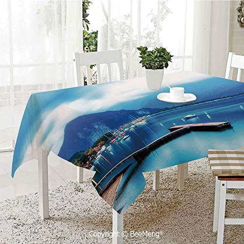 BeeMeng Large Family Picnic Tablecloth,Easy to Carry Outdoors,Scenery House Decor,Italian Village with Harbor and Sail Boats Magical Countryside Rural Photo,Blue,59 x 104 inches