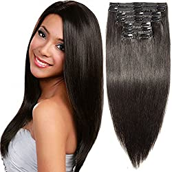 """s-noilite 10""""-22"""" Thick Double Weft 130-160g Grade 7A 100% Clip in Remy Human Hair Extensions Full Head 8 Piece (20""""-150g #1B Natural Black)"""