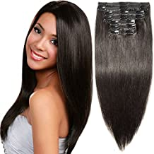 """s-noilite 10""""-22"""" Thick Double Weft 130-160g Grade 7A 100% Clip in Remy Human Hair Extensions Full Head 8 Piece (18""""-140g #1B Natural Black)"""