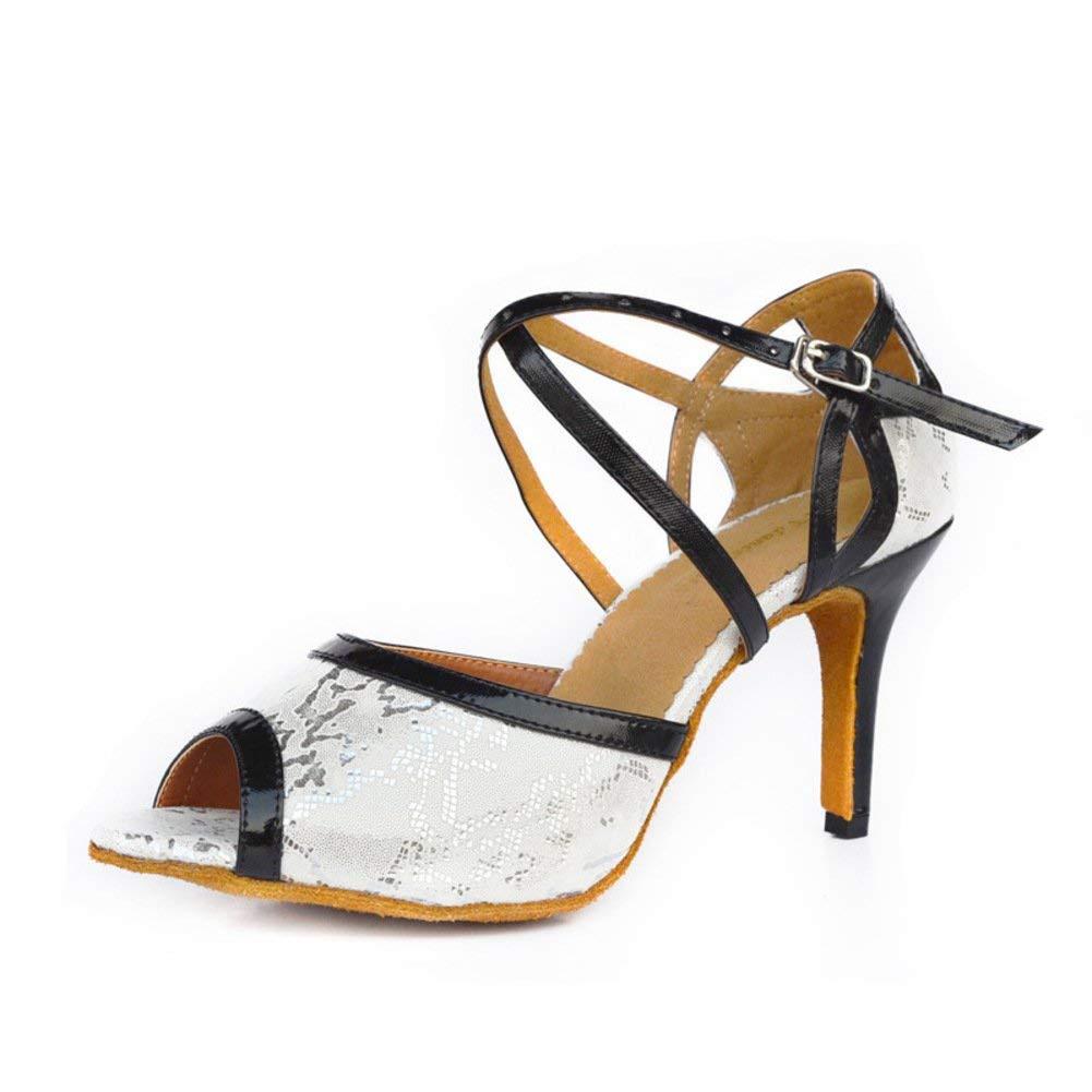 HhGold Lateinamerikanische Tanzschuhe der Frauen Mittlerer Heels Weiche Unterseite Soziale Tanzschuhe Indoor Tanzschuhe (Farbe   Weiß Größe   Foot Length=22.3CM8.8Inch)