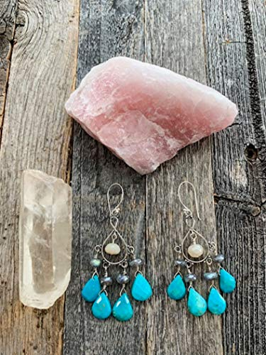 - Sleeping Beauty Turquoise Earrings with Mystic Labradorite Moonstone and Sterling Silver