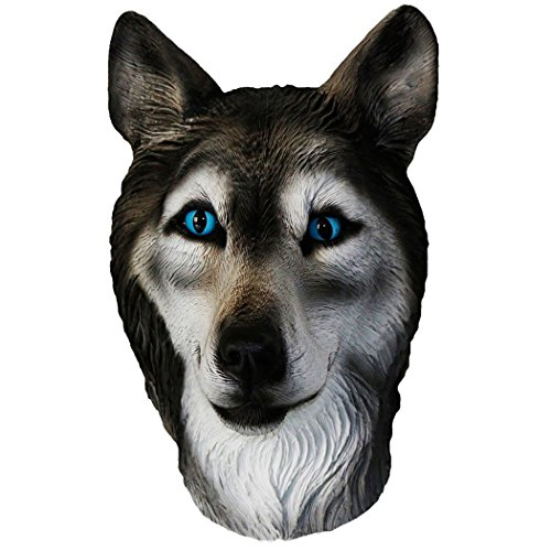 (Latex Animal Dog Head Mask, Party Costumes Fancy Dress Up Carnival Mask Full Head Animal Popular Cosplay (Wolf)