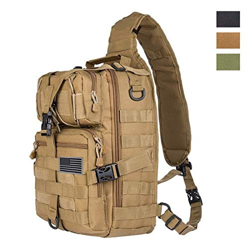 HAOMUK Tactical Sling Bag Pack Military Rover Shoulder Sling Backpack EDC Molle Assault Range Bag Everyday Out Carry Diaper Bag Carry Bag Small (Khaki, pro) (Edc Military)