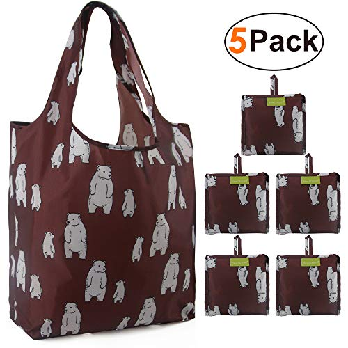 Grocery Shopping Bags Lightweight Reusable Tote Bags Foldable with Pouch Sturdy 5 Pack Set Maroon with Adorable Polar Bear Patterns