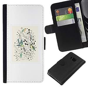 All Phone Most Case / Oferta Especial Cáscara Funda de cuero Monedero Cubierta de proteccion Caso / Wallet Case for HTC One M9 // Minimalist Framed Floral Pattern White