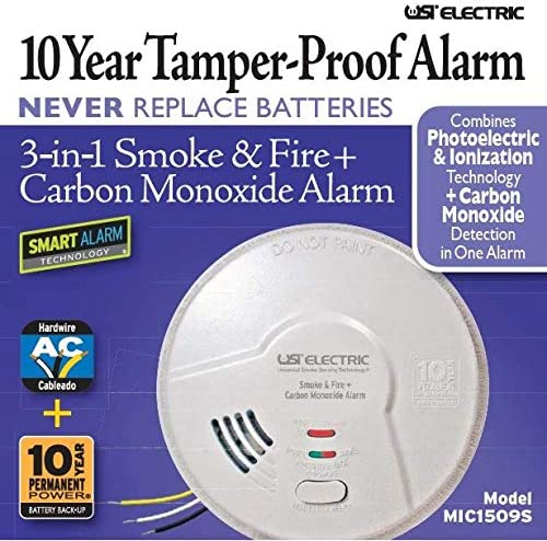 USI – 2 Pack MIC1509S 3-in-1 Hardwired Fire and Carbon Monoxide Smart Alarm with 10 Year Sealed Battery