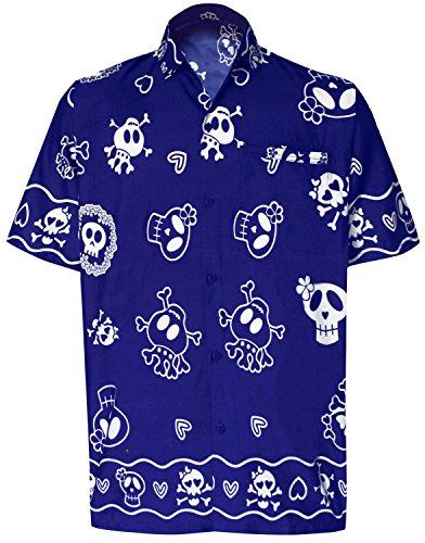 LA LEELA Beach Aloha Short Slevee Hawaiian Button Down Shirts Men Blue_W189 ()
