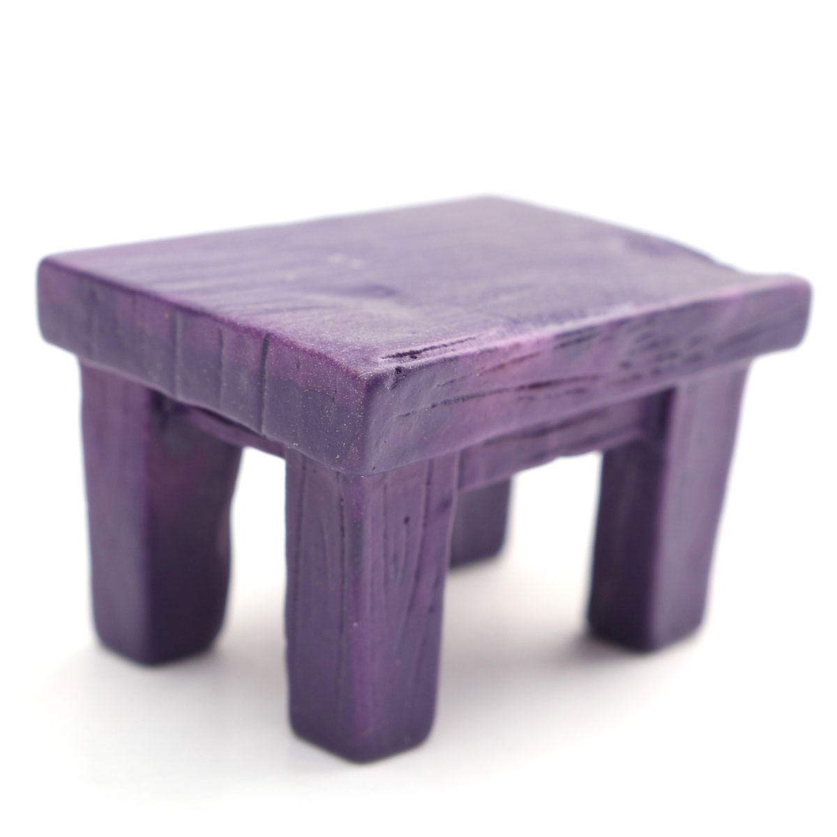 Mini Resin Stool Chair Desk Figurine Micro Landscape Ornament Gardening Decoration DIY Bonsai Craft - Purple Desk