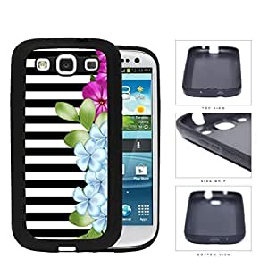 Black and White Horizontal Stripes with Pink and Blue Flower Design on Side Hard Phone Case Cover Samsung Galaxy S3 I9300