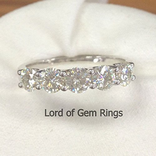 3.5mm Moissanite Wedding Band Anniversary Ring 14K White Gold by the Lord of Gem Rings