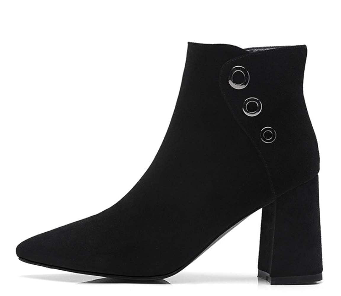 Shiney Damen Martin Stiefel Seitliche Zip High Rivet Weibliche High Zip Heel Klobige Ferse Wies Kuh Flip Niedrige Stiefel Herbst Und Winter 25f652