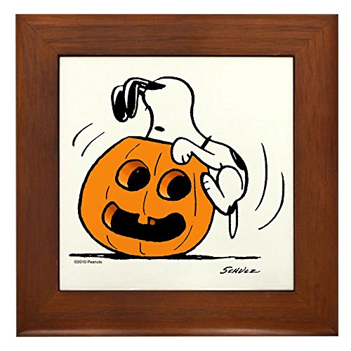 CafePress Snoopy Jack O' Lantern Framed Tile, Decorative Tile Wall Hanging]()