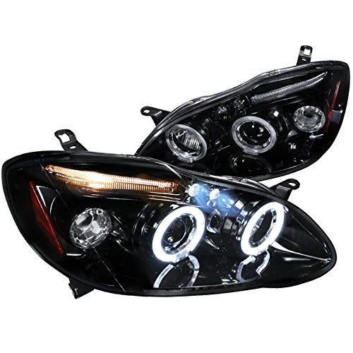 Spec-D Tuning 2LHP-COR03G-TM Toyota Corolla Glossy Black Housing Smoked Lens Led Projector -