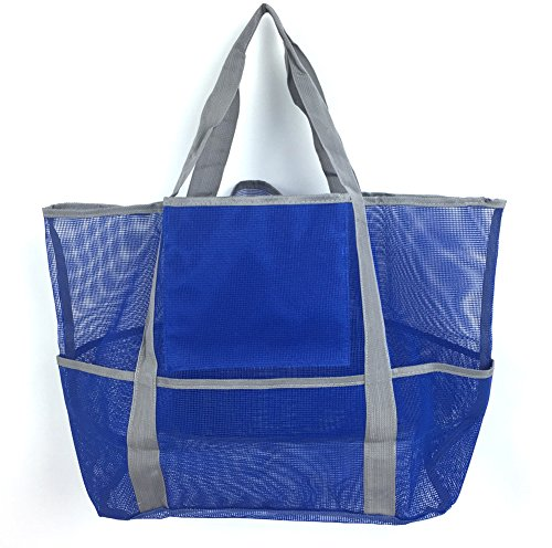 Oversized Beach Tote Bag-Mesh Beach Tote with Big Pockets for Family (Blue)