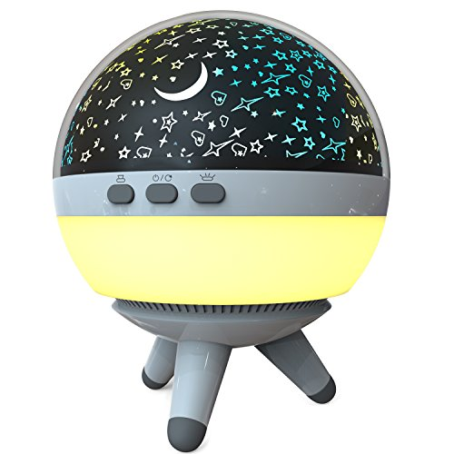Dream Planet Night Lamp Star Light Rotating Projector for Baby, Kids or Toddlers Room, Moon and Stars Projection Lamp with Multiple Colors Decorative Light, Baby Nursery Light by Babylinos