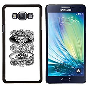LECELL--Funda protectora / Cubierta / Piel For Samsung Galaxy A7 A7000 -- Cráneo nuclear Muerte Negro White Rock --