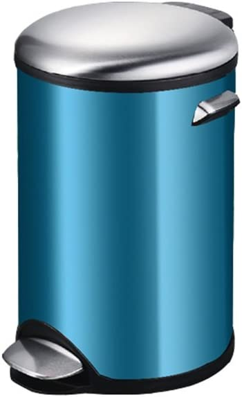 Capacity:12L ZLL-Waste Bins European Stainless Steel Pedal Trash Can Household Creative Mute With Cover Garbage Can Color : Gold