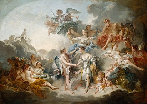 Francois Boucher - Marriage Of Cupid And Psyche, Canvas Art Print, Size 16x24, Non-Canvas Poster Print