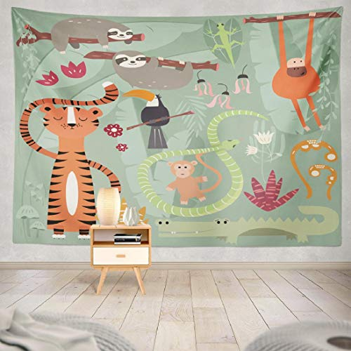 Hdmly Silly Tapestry Wall Hanging Decor, Decorative Wall Tapestry Green Jungle with Cute Rain Forest Animals Tiger 60