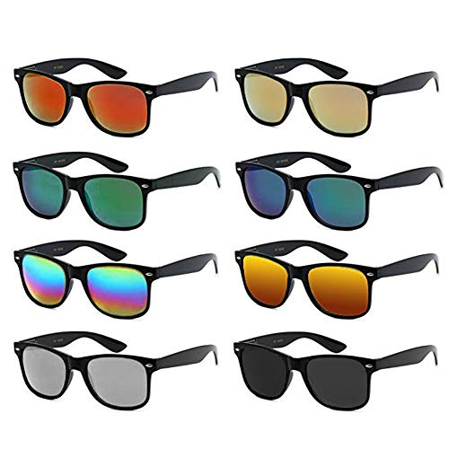 Neon Colors Party Favor Supplies Unisex Sunglasses Pack of 8 (Black Mirrored) -