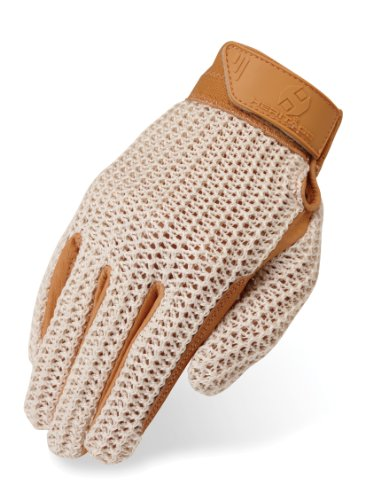 Heritage Crochet Riding Gloves, Size 7, Natural Tan by Heritage Products