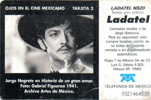 Amazon.com: Jorge Negrete Ojos En El Cine Mexicano Mexican Ladatel Phone Card Historia De Un Gran Amor: Cell Phones & Accessories
