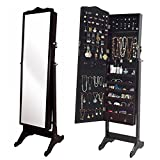 Organizedlife Brown Jewelry Cabinet Full Length Mirror Armoire Free Stand Large Cosmetic Organizer
