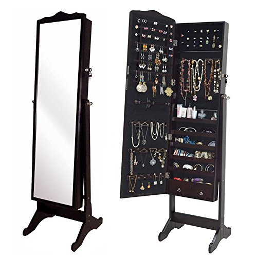 Organizedlife Brown Jewelry Cabinet Full Length Mirror Armoire Free Stand Large Cosmetic Organizer by Organizedlife
