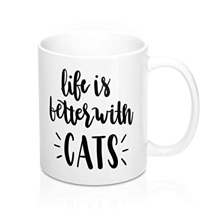 La vida es mejor con la taza de café del gato de los gatos Taza de ...