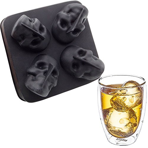 (Kidac 3D Skull Ice Cube Tray Flexible Silicone Large Skull Ice Molds BPA Free)