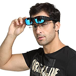 Duco Unisex Wear Over Prescription Glasses Rx Glasses Polarized Sunglasses 8956 (Black Frame Revo Blue Lens)