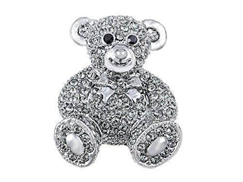 (Alilang Vintage Inspired Cute Valentine Silver Tone Teddy Bear Stuffed Animal Lapel Brooch Pin)