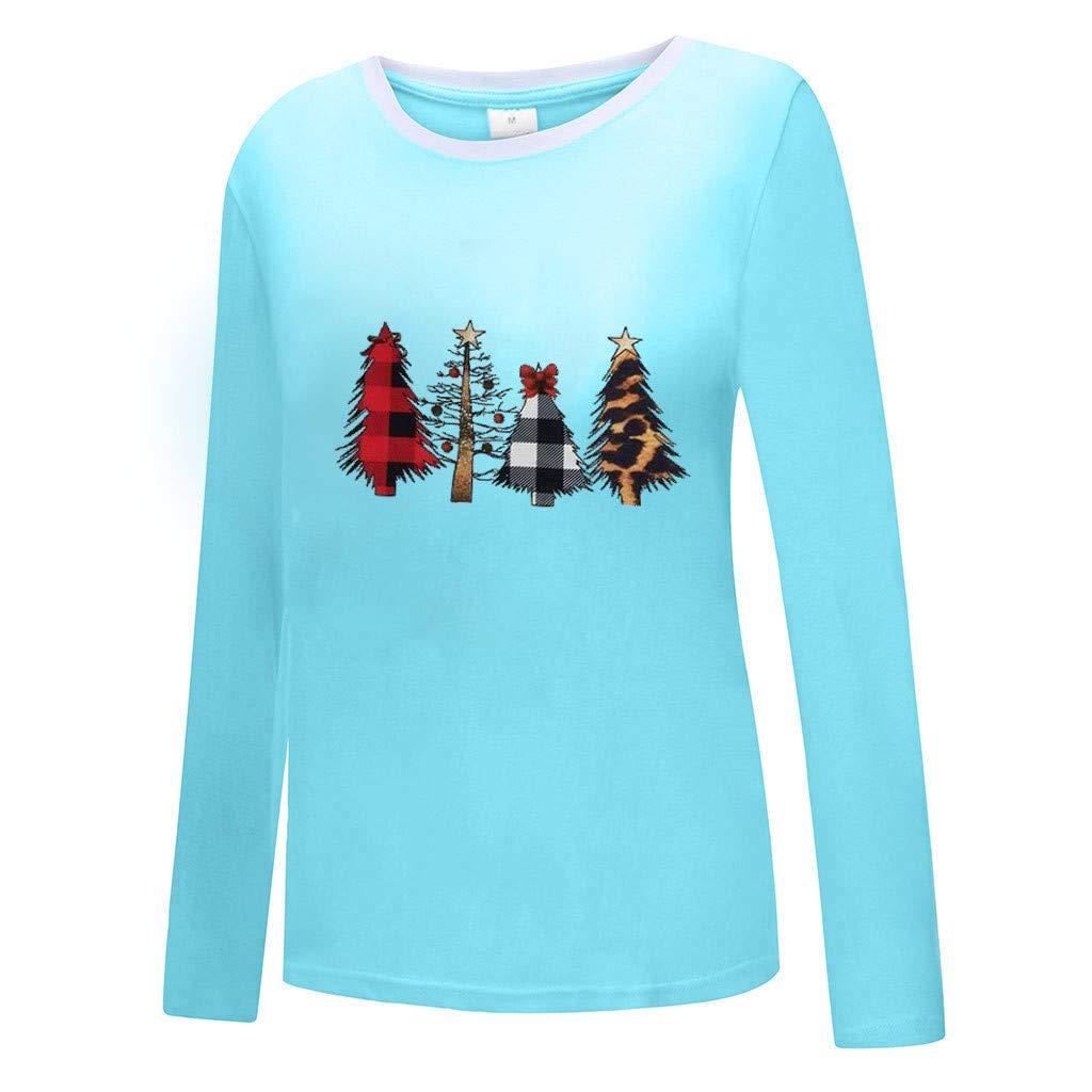 Sweatshirt Femme Imprimé,Solike Pullover Blouse Sweaters Noël Grande Taille Christmas Top Tricoté Manches Longues Bleu-5