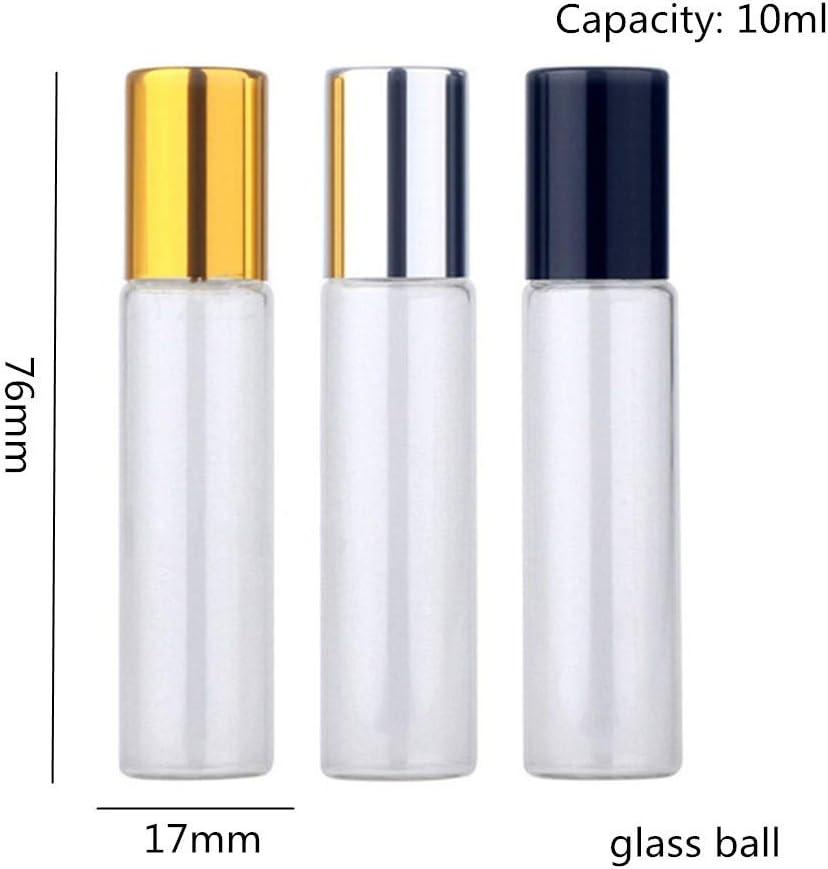 PLUS PO Bottiglia Profumo Olio Essenziale Bottiglie Perfetto per Oli Essenziali Bottiglie a Rullo di Vetro per Oli Essenziali Gold Black