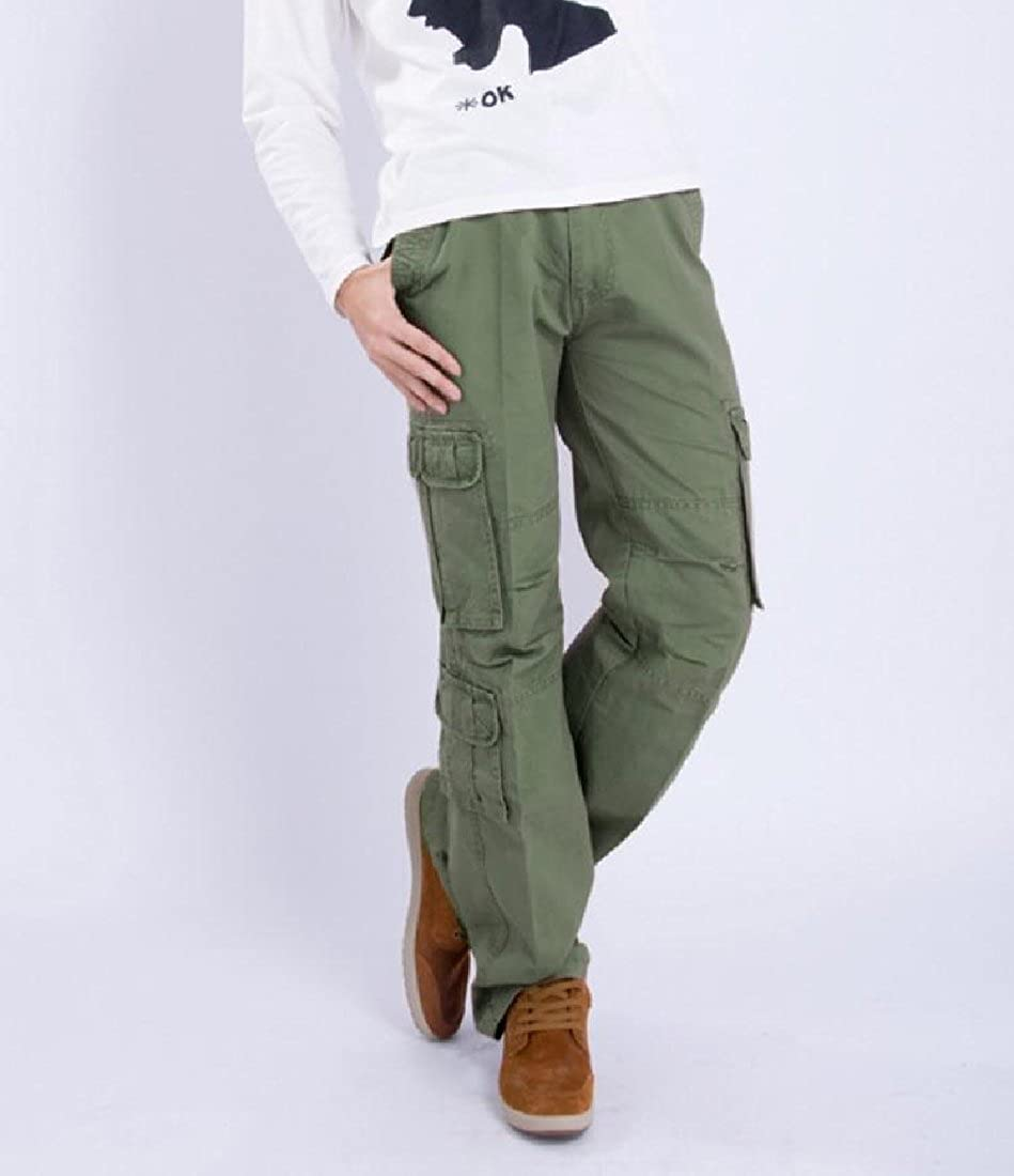 cheelot Mens Multi-Pocket Casual Stylish Straight Oversized Workout Cargo Pants