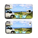 Senior couple relaxing in camping folding chairs, sea landscape cell phone cover case iPhone5