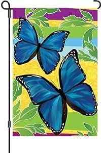 12in jardín bandera–azul brillante mariposas