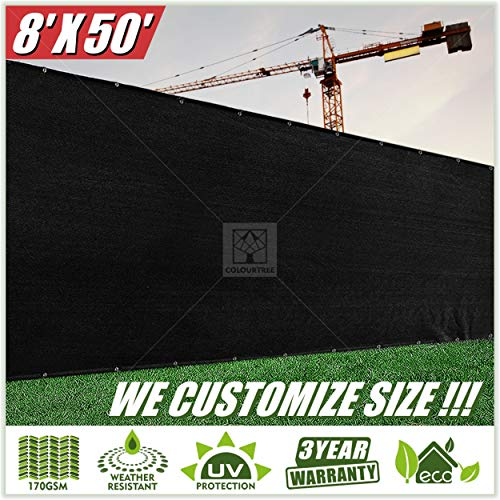 ColourTree 8' x 50' Black Fence Privacy Screen Windscreen, Commercial Grade 170 GSM Heavy Duty, We Make Custom Size -