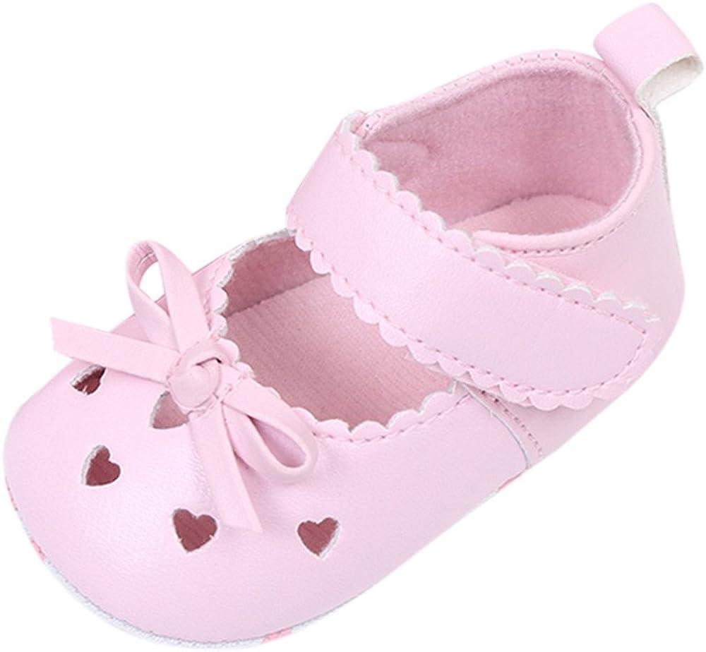 Fossen Zapatos Bebe Niña Primeros Pasos Recién Nacido Bowknot Antideslizante Suela Blanda Cuero Artificial Zapatos