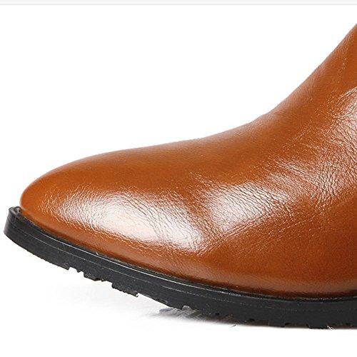 H H(Rosso, nero, marrone, beige) fibbia a cinghia punta a basso tacco di scarpe diamanti corti gomma antiusura resistente all'usura , red , 40