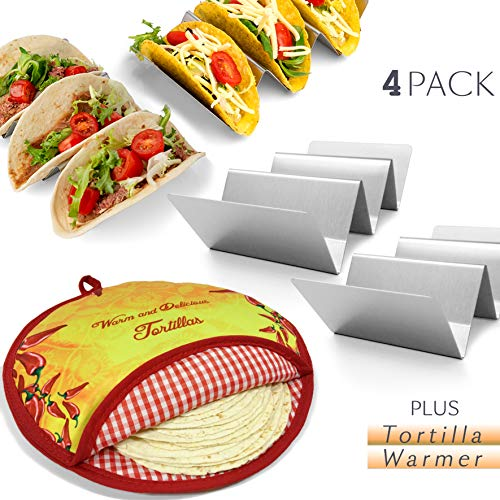 4 Pack Stainless Steel Taco Holder Stand & Tortilla Warmer in One Set, 4 Stands & Pouch Bread Warmer