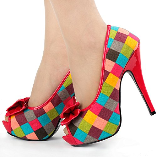 à LF30472 plate Spectacle Tartan talon forme multicolores Check Bow chaussures Fab histoire Multicolore nqTwp61