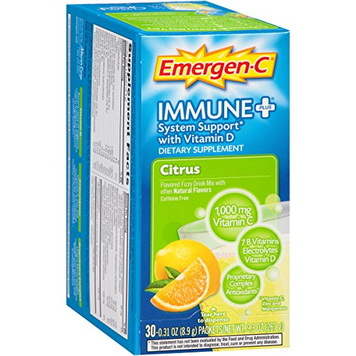Emergen-C Immune+ System Support Dietary Supplement with Vitamin D (Citrus Flavor, 30-Count 0.31 oz. Packets, Pack of 3)