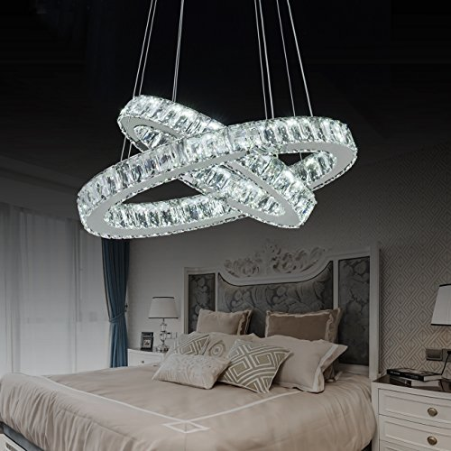 Cable Pendant Assembly - Modern LED Crystal Chandeliers 2 Rings Pendant Lighting Elegant Crystal Glass Ceiling Lighting Contemporary Adjustable Stainless Steel Cable or Dining Room Bedroom Kitchen Hallway
