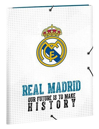 Safta SF-511754-068 - Carpeta folio de gomas con 3 solapas, equipación 2017/2018, diseño Real Madrid: Amazon.es: Oficina y papelería