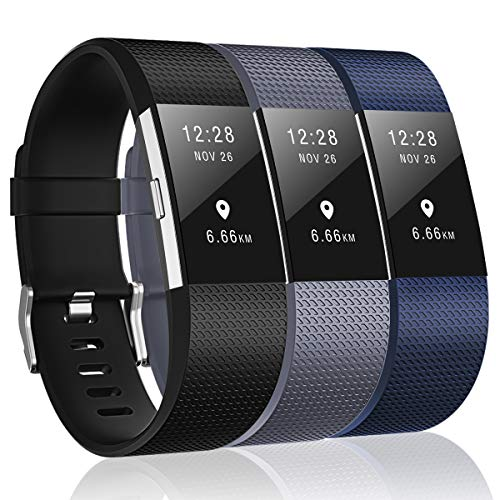 Humenn Bands Compatible with Fitbit Charge 2,3 Pack Classic & Special Edition Replacement Bands for Fitbit Charge 2,Black,Gray,Navy Blue