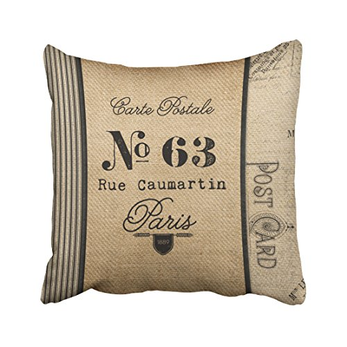 Musesh burlap vintage postage french country quote Cushions Case Throw Pillow Cover For Sofa Home Decorative Pillowslip Gift Ideas Household Pillowcase Zippered Pillow Covers 20X20Inch